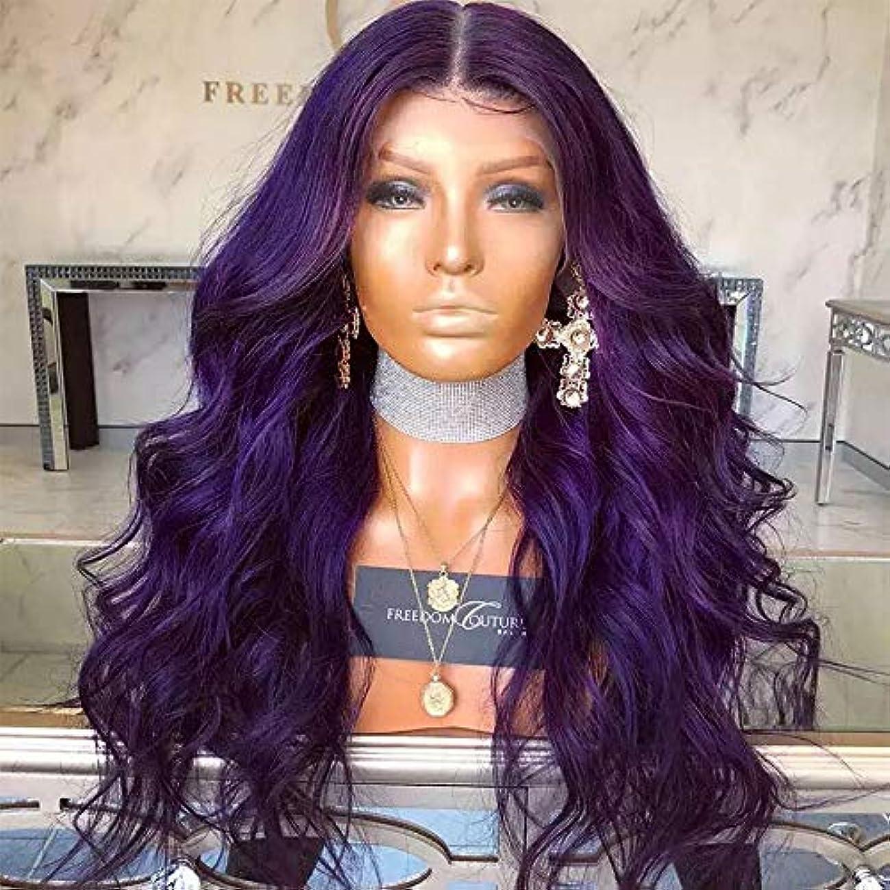 アノイ幸運直感ヘアピース ヨーロッパとアメリカのファッションレディースレースロングカーリーヘア化学繊維パープルナチュラルウィッグヘアセット