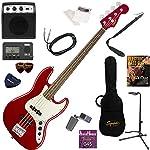 Squier エレキベース 初心者 入門 シャープなルックスと、プレイヤビリティの高さを融合させたジャズベース ミニアンプが入ったお手軽13点セット Contemporary Jazz Bass/DMR(ダークメタリックレッド)