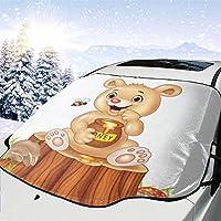 車のフロントガラスの日よけかわいいクマミツバチ動物サンバイザー、フロントガラスのサンバイザー、UVカットフロントガラスの日よけ(147 x 118cm)