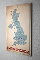 Tin Sign ブリキ看板 World Trip Map of England Decorative Wall Plate