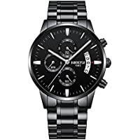 NIBOSI Men's Watches Luxury Fashion Casual Dress Chronograph Waterproof Military Quartz Wristwatches for Men Stainless Steel Band