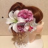 成人式 卒業式 結婚式にカサブランカ ダリア 丸菊 髪飾り5点セット ライトパープル