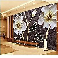 Bosakp壁にエンボス加工された白い花の壁紙3 D大写真壁画壁画3D壁紙アート壁の装飾カスタムサイズ 200X140Cm