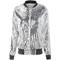 VERO VIVA Women's Sparkle Sequin Front Zip Coat Long Sleeve Ribbed Bomber Jacket