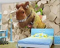 Bzbhart カスタム3d壁紙壁画恐竜ステレオ子供部屋漫画動物寝室テレビ背景壁-120cmx100cm