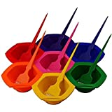 Outstanding 7-Color Rainbow Home DIY Hair Coloring/Dye Brush and Bowl Set, with Key Tube Squeezer