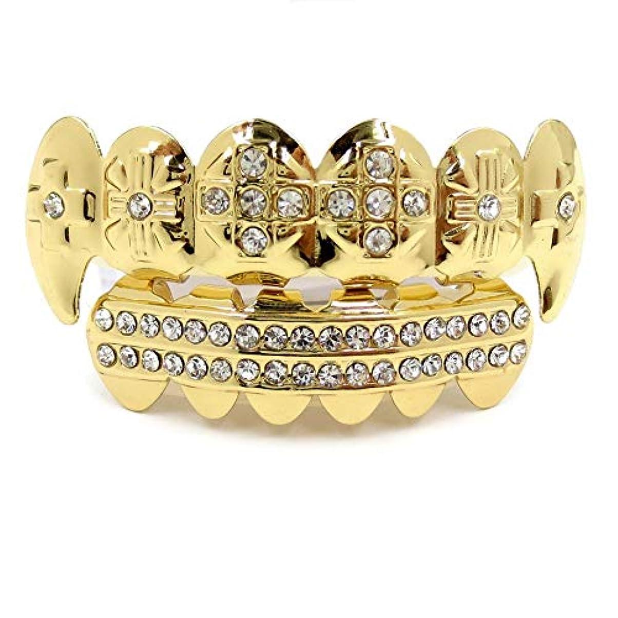 兵隊りんご鉄HIPHOPティースキャップ、ヨーロッパ系アメリカ人INS最もホットなゴールド&ブラック&シルバーの歯ブレースゴールドプレート口の歯 (Color : Gold)