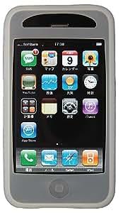 SoftBank iPhone 3G用 なめらかシルクタッチ シリコンケース 液晶保護フィルム付 スモークホワイト RX-IPSPHOSW