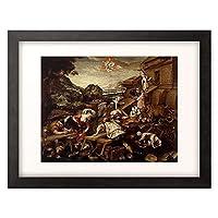 Memberger, Kaspar,-vor1626 「Bau der Arche Noah. 1588. Lwd, 128 x 166 cm」 額装アート作品