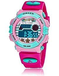GOHUOS 腕時計 子供 LED デジタル スポーツ アラーム 日付曜日 ピンク ローズレッド