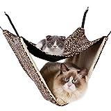 2層 猫ハンモック キャットハンモック ペット用品 吊り下げ  寝床 取り付け簡単 フック付き 冬用