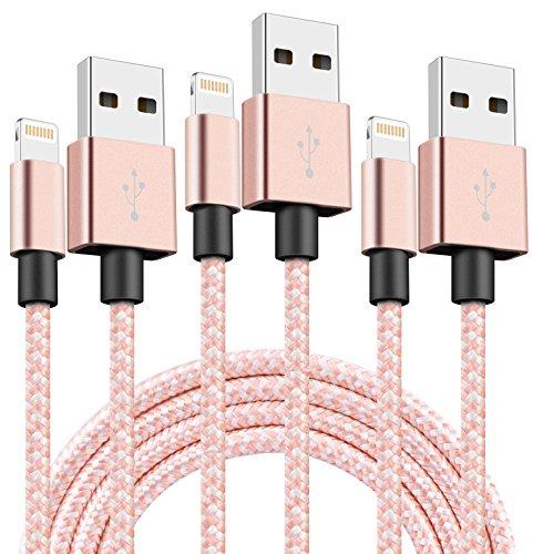 SGIN ライトニング ケーブル 【3本セット1M】Lightning USBケーブル 高耐久編み iphone 充電ケーブル 急速充電 コンパクト端子 iPhone X,8,8 Plus,7,7 Plus,6,6s,6s Plus,6 Plus,5,5S,SE,iPad Air,Mini - ローズ