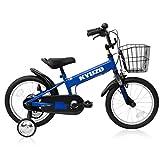 全5色 KYUZO 16インチ 子供用自転車 補助輪付 カゴ付 (ブルー)