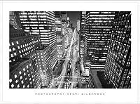 ポスター アンリ シルバーマン Park Avenue at Night、 NYC 額装品 アルミ製ハイグレードフレーム(ホワイト)