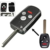 Auveach Replacement 4 Button Folding Flip Key Shell Remote Case Fob For Honda Accord Civic CRV 3+1