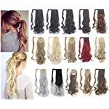 SAYFUT 18-24inch 90g Straight Curly Wave Wrap Around Ponytail Clip in Pony Tial Hair Extensions for Girl Lady Women