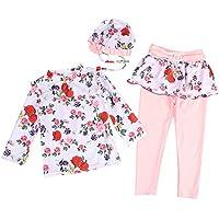 Digirlsor Kids Girls 2 Piece Sun Protection Swimsuit Floral Rash Guard Long Sleeve+Swim Pants Swimwear Set with Hat