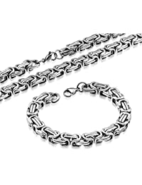 Stainless Steel Silver-Tone Necklace Bracelet Mens Jewelry Set