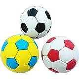 1st market 3個のサッカーサッカーゴム消しゴムクリエイティブステーショナリー学用品ギフトキッズ-多色便利で実用的