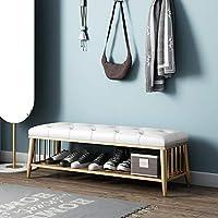 ECSD 靴の棚 - 金属の靴のベンチのオルガナイザー、PUの装飾された収納靴のベンチの寝室のベッドの端スツール (色 : Brown, サイズ さいず : 80cm)