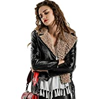 Women's Moto Biker Jacket -Faux Leather Bomber Biker Jacket -Lapel Fashion Long Sleeve Jacket for Winter and Autumn