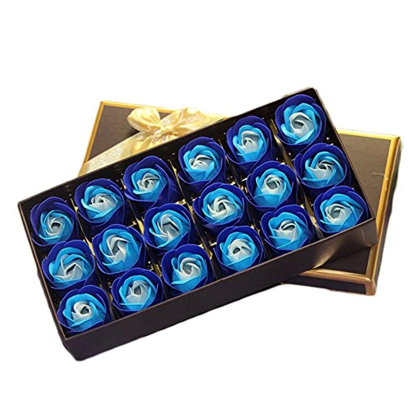 着替えるるラフ18個バラ型 フラワーソープ ギフトボックス入り 石鹸 花 バラ セット 手作り 洗う 手 お風呂 香り 贈り物 (青 1)