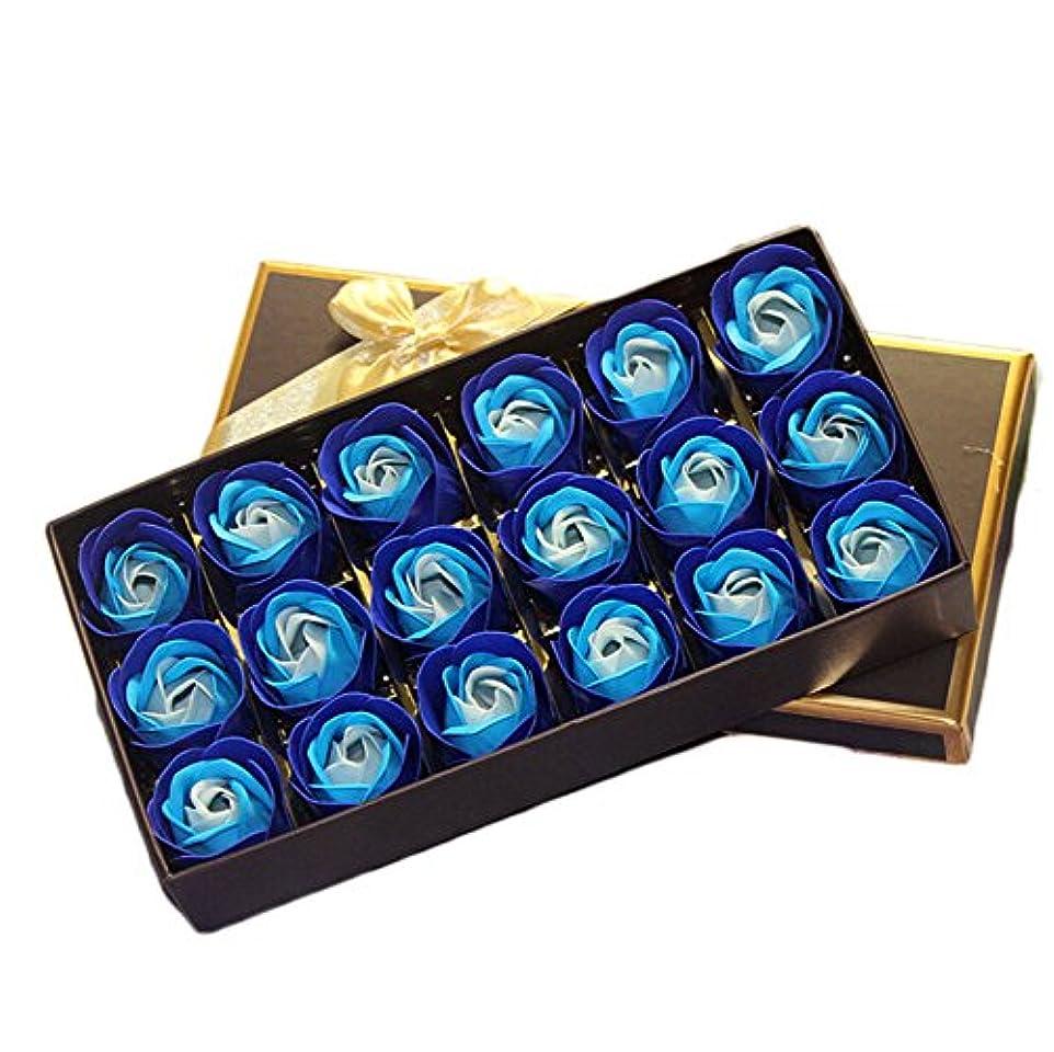 オーバーフロー種類レーダー18個バラ型 フラワーソープ ギフトボックス入り 石鹸 花 バラ セット 手作り 洗う 手 お風呂 香り 贈り物 (青 1)