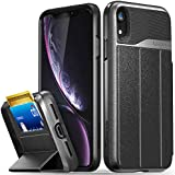 """Vena iPhone XR Wallet Case, [vCommute][Military Grade Drop Protection] Flip Leather Cover Card Slot Holder with Kickstand for Apple iPhone XR (6.1"""") (Space Gray/Black)"""