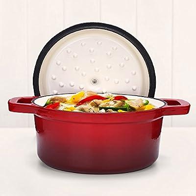Fresh Australian Kitchen Enamelled Cast Iron Round Casserole Pot. Small Sized 20cm Red Dish Pan.