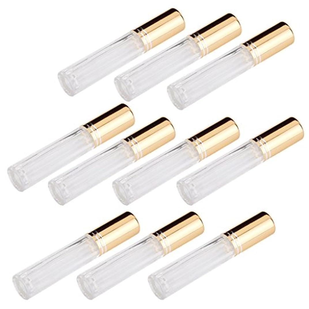 さまようリップマトンFenteer 10本セット 透明 交換 旅行 空 ロールオン ガラス 香水瓶 容器 男性 女性3ml