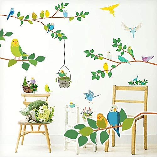RoomClip商品情報 - ウォールステッカー 木 グリーン 鳥 インコ 小鳥 セキセイ 北欧 緑 植物 観葉