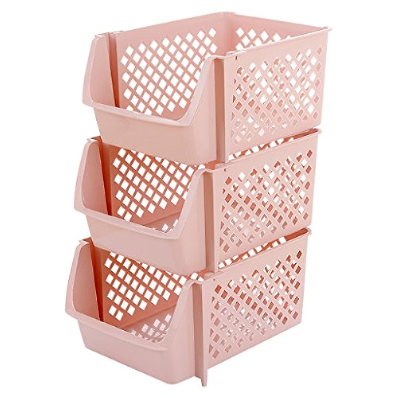 キッチン用棚フロアプラスチック製収納箱3面収納棚収納棚収納棚 (色 : Light pink)