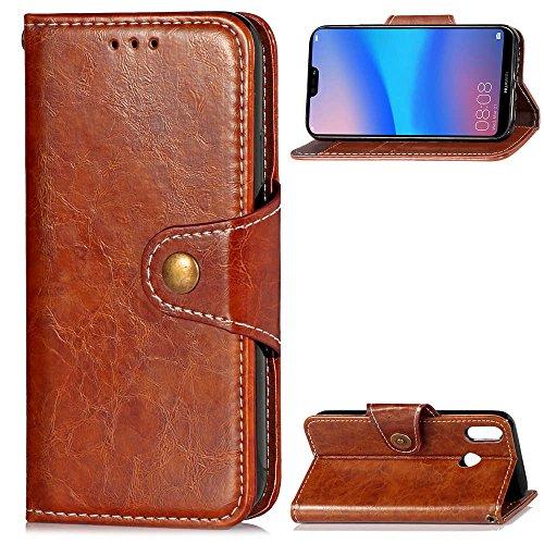 HUAWEI P20 lite ケース HWV32 (au) [KAIDON] 良質PUレザー マグネット開閉 カード収納 手帳型 ケース カバー (褐色)