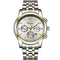 メンズメンズ時計クロノグラフ防水ミリタリースポーツ明るい大型顔ビッグダイヤル日カレンダー多機能単純な黒銀白手首のウォッチウォッチステンレス鋼腕時計