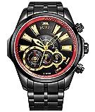 (バオショ)BUREI 腕時計 メンズ バイクモチーフ 夜光指針 クロノグラフ 時計 JP-17001-P56EG ブラック文字盤
