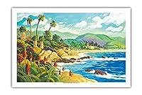 ラグナビーチとの愛 - カリフォルニア - シーサイドオーシャンビュー - オリジナルの水彩画からのもの によって作成された ロビン アルトマン - プレミアム290gsmジークレーアートプリント - 61cm x 91cm