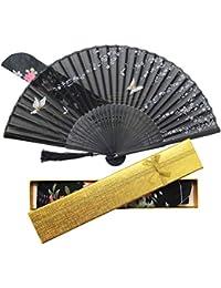 Boshiho 扇子 & 扇子袋 扇 和風 和装 高級シルク 正絹 綺麗 花 花柄 レディース おしゃれ 上品 華やか 防暑 ブラック