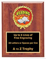 Reading Plaque Trophy 7x 9木製Book Academic教育Trophies Awards Free Engraving