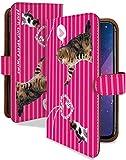 AQUOS sense2 SH-01L ケース 手帳型 二匹 ねこ ピンク ねこ柄 ストライプ スマホケース アクオスセンス2 アクオスセンスツー 手帳 カバー AQUOSsense2 sh01l sh01lケース sh01lカバー 猫 ネコ キャット 猫柄 アクセ [二匹 ねこ ピンク/t0722d]