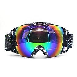 VILISUN スキーゴーグル スノボゴーグル REVOミラー・ダブル球面レンズ UV400紫外線カット 軽量 メガネ対応 曇り止め すべり止め 3層スポンジ スノーボード スキー・登山・アウトドア 男女兼用 子供 大人
