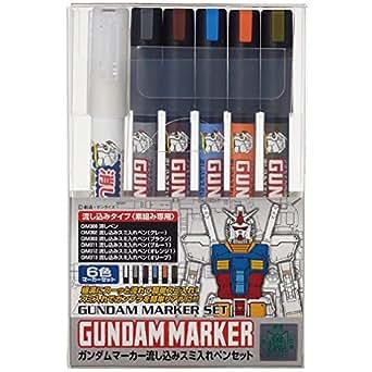 GSIクレオス ガンダムマーカー GMS122 流し込みスミ入れペンセット 6本セット