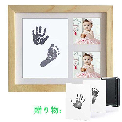 Ren 赤ちゃんの手形 足形フレーム ベビー記念品 赤ちゃん フォトフレーム 置き掛け兼用 無毒で安全 誕生記念 出産祝い メモリアル 写真立て (ライトイエロー)