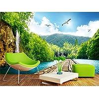 Ansyny カスタム壁画リビングルーム3D写真壁紙ウォールステッカー滝木製ブリッジ風景3D壁壁画壁紙用壁-130X100CM