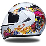 Fashion Creative Skull Pattern Electric Car Helmet Double Lens Open Face Helmet Motorcycle Outdoor Riding Full Face Helmet Four Seasons Universal Pretty (Color : Black, Size : M)