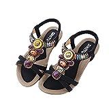 YOONI【ユニ】ビーチサンダル レディース サンダル 歩きやすい ローヒール 大きいサイズ 靴 夏 ボヘミアン風 ビーズ 018-jxfxc-148-a8(26CM ブラック )