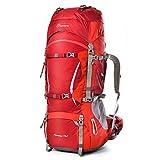Mountaintop 70L /75L バックパック メンズ リュック 登山 大容量ザック 軽量 長期旅行 ハイキング キャンプ用 リュックサック アウトドアバッグ レインカバー付き 撥水 (レッド)