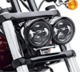 「SUPAREE」ハーレーダビッドソン(Harley-Davidson)LEDヘッドライト・ファットボブ ハーレー純正パーツサイズ同様 4.65インチ Hi/Lo 切り替え型 ハイパワー40W 2800lm ホワイト*2 (インナーブラック)DYNA FXDF Fat Bob ファットボブ用