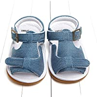 [Setaria Viridis] ベビーサンダル 滑り止め ベビーシューズ 赤ちゃん靴 ゴムソール 出産祝い プレゼント (12-18M, ブルー)