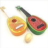 sac taske フルーツ ウクレレ 子供 ミニ 果物 ギター 2種類 セット & エッグシェーカー (スイカ × ミカン)