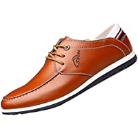 Gaorui Men's Casual Leather Boat Shoes Docksides Deck Spinnaker Top-Side Lace Up Moccasin